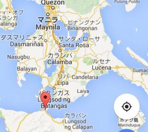マニラからプエルトガレラまで地図で見ると